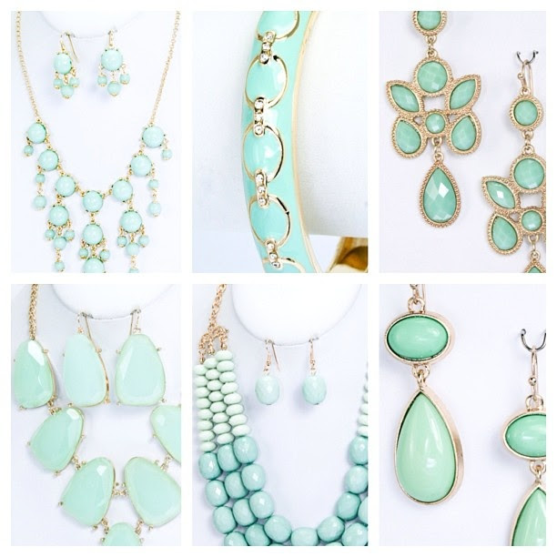Mint colored jewelry for bridesmaids