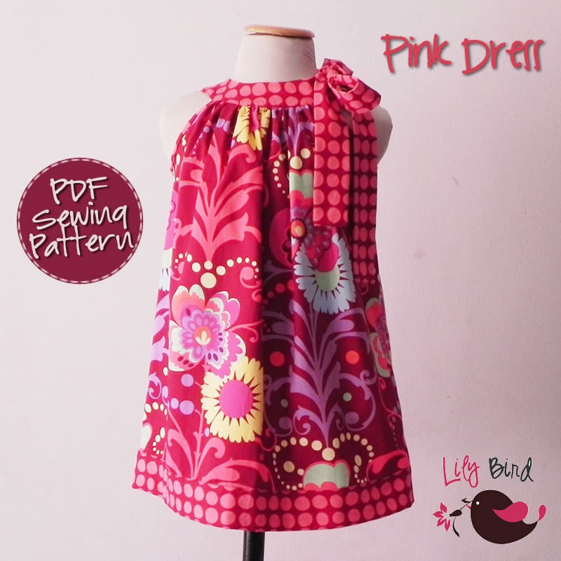 Pink Dress - pillowcase style  - 12 months to 8 years - PDF Pattern and Instructions - easy sew