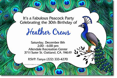 Peacock Birthday Invitations, Candy Wrappers, Thank You