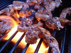 Berbère shrimp on the grill