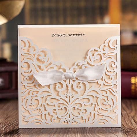 Pretty Lasercut Pocket Wedding Invitation