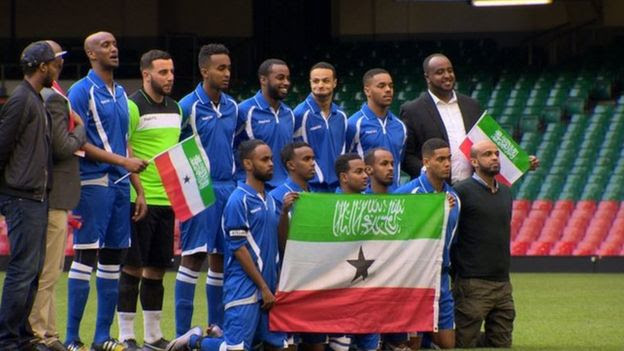 Somaliland XI before their match against the South Wales Police Select XI in the Cardiff Community Cohesion Cup at the Principality Stadium, Cardiff