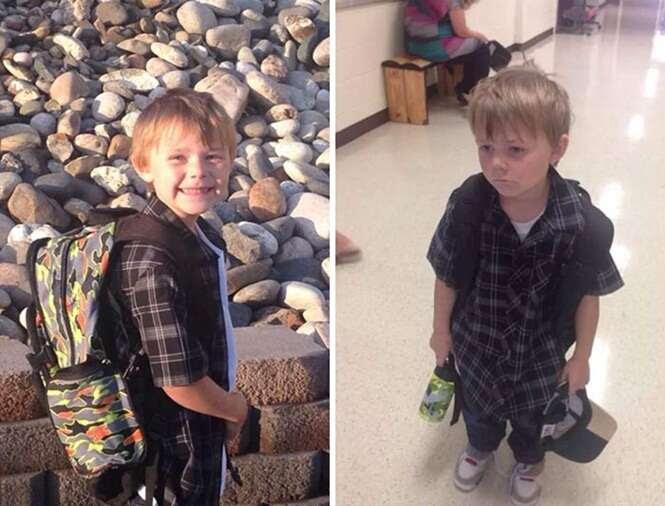 Fotos hilárias de crianças antes e depois do seu primeiro dia de aula