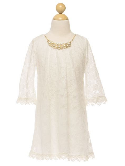 Ivory Lace Dress w/ Pearl Necklace