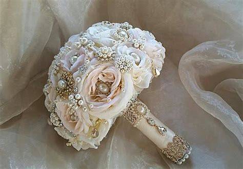 Peach & Blush Vintage Bridal Brooch Bouquet   Custom Made