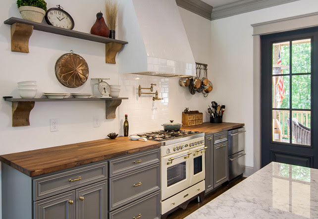 Gray Kitchen Cabinets with white subway tile backsplash. #GrayKitchenCabinet #SubwayTileBacksplash Millworks Designs.