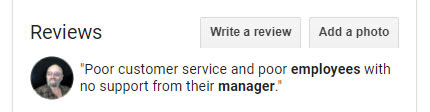 A screenshot of a negative 1-star review citing poor customer service