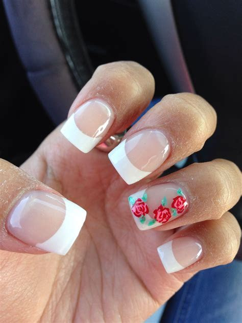 French tip with roses design   Nails in 2019   Rose nail