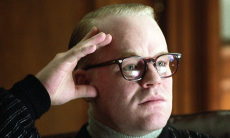 Philip Seymour Hoffman portrays author Truman Capote his Oscar winning role in a scene from the film