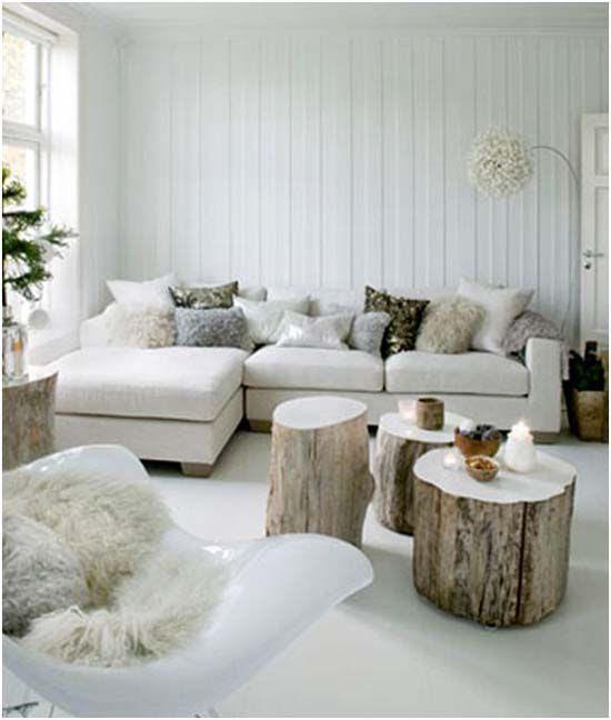 decorar el salon con troncos