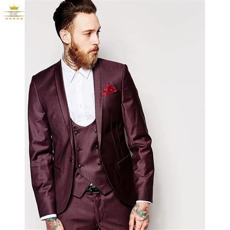 2017 Latest Coat Pant Designs Burgundy Wedding Suits for