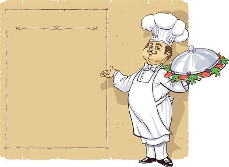 Menu design with illustrated chef   Vector download