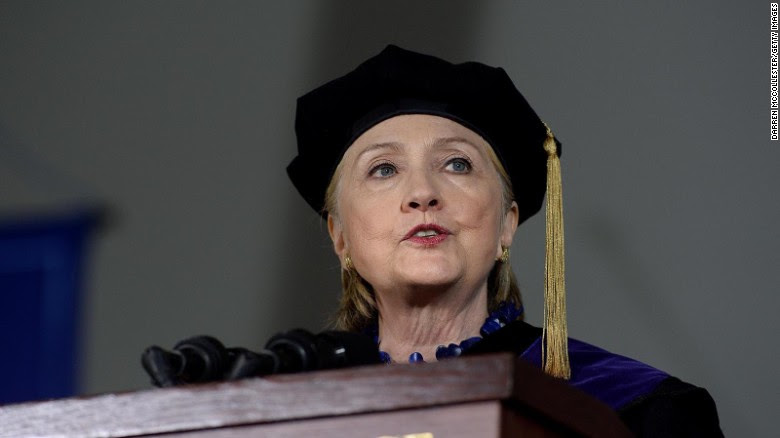 Hillary Clinton speaks at commencement at Wellesley College May 26, 2017, in Wellesley, Massachusetts.
