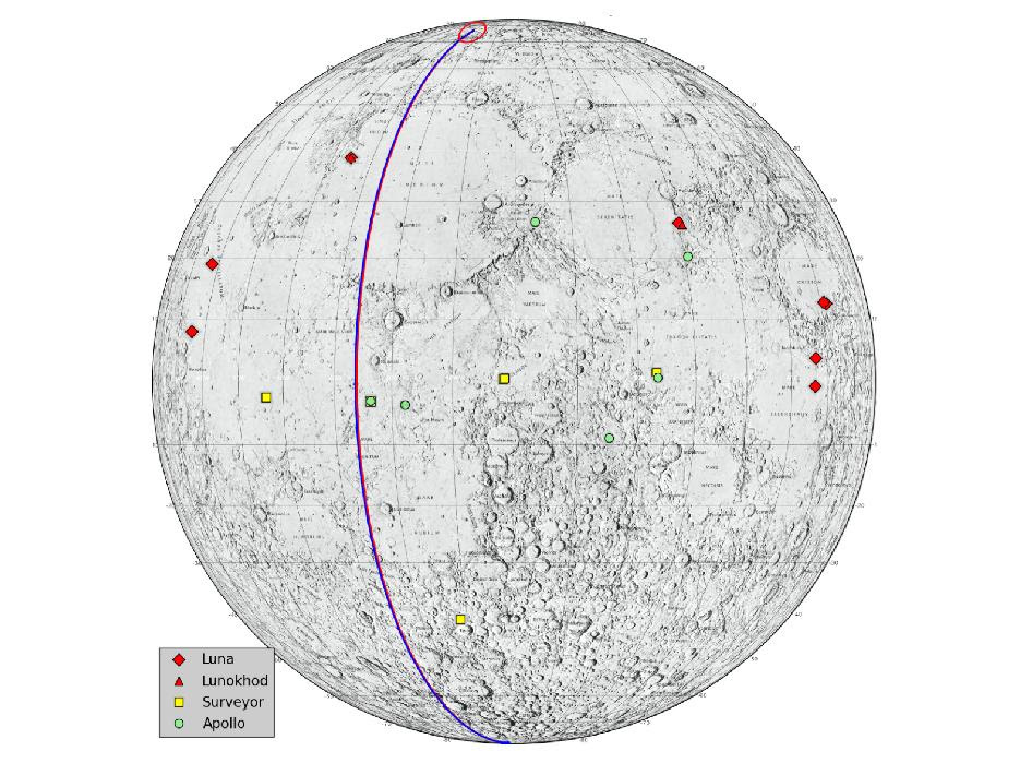 This graphic highlights locations on the moon NASA considers 'lunar heritage sites' and the path NASA's Gravity Recovery and Interior Laboratory spacecraft will take on their final flight.