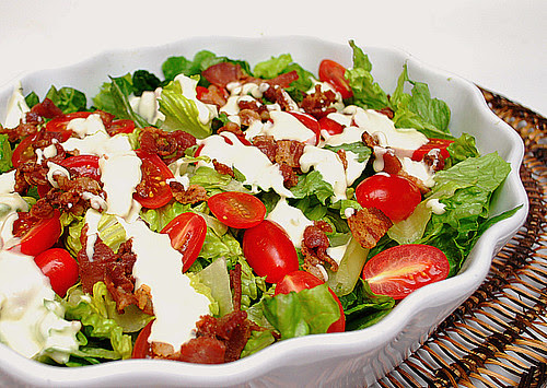 BLT Salad with Creamy Parmesan Dressing