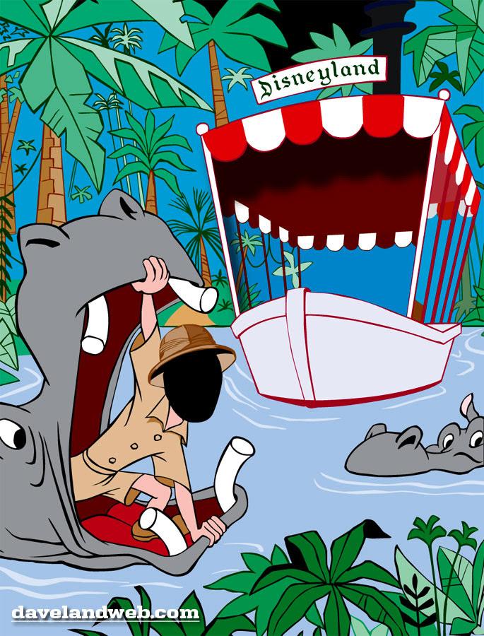 Disneyland Jungle Cruise colorized cutout vintage souvenir photo