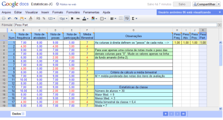 Cálculo da média bimestral e estatísticas da classe.