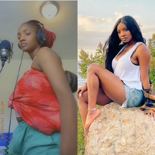 Simi shares videos as her daughter didn't allow her to sit while recording a song (Video)