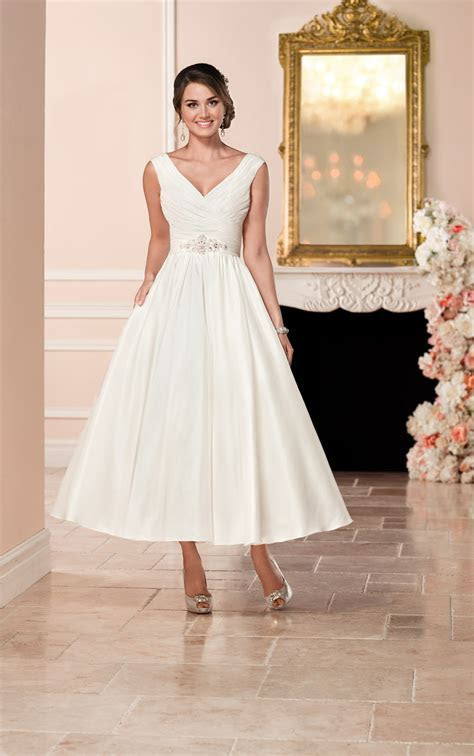 Short Satin Wedding Dress   Stella York