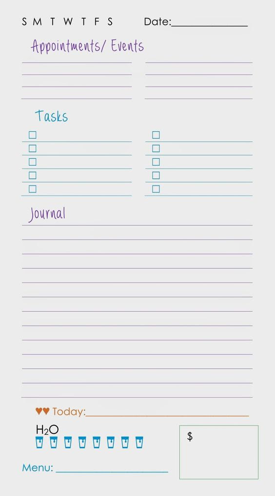 Printable Daily Planner Page | Sparkle Frogs: Planning My Day ...
