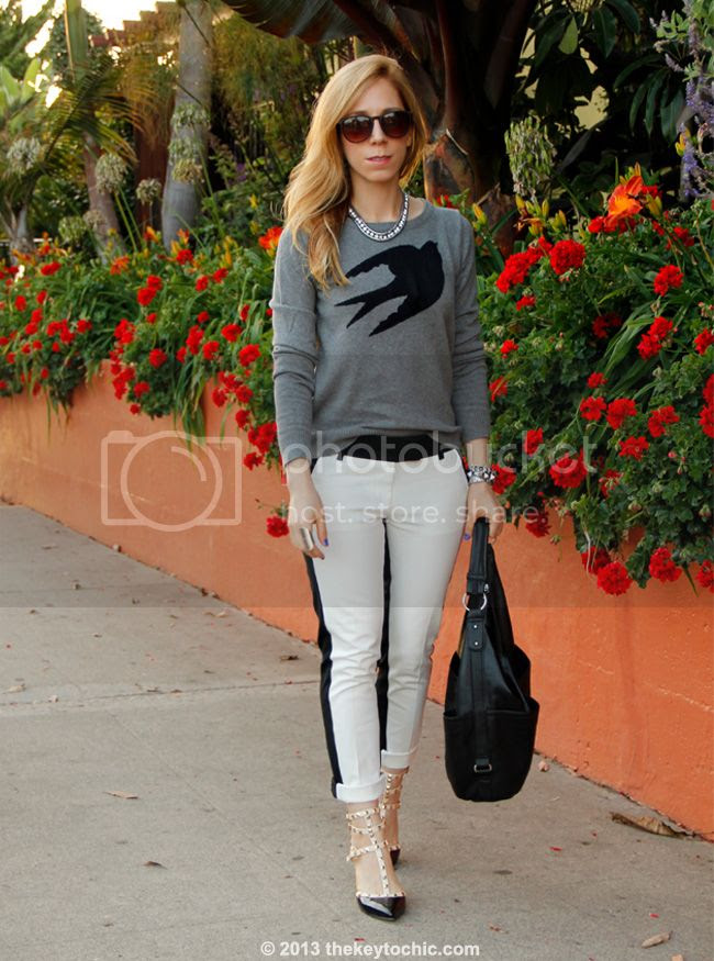 L.A. fashion blogger wearing Mossimo bird swallow print sweater, Merona two-tone pants, Valentino Rockstud heels for less, Fantas-Eyes sunglasses