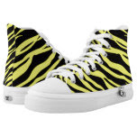 Neon Yellow Zebra Striped Printed Shoes