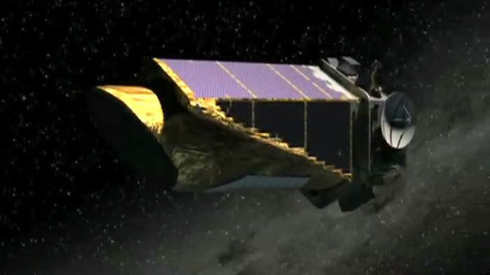 A computer-generated image of the Kepler telescope in space.