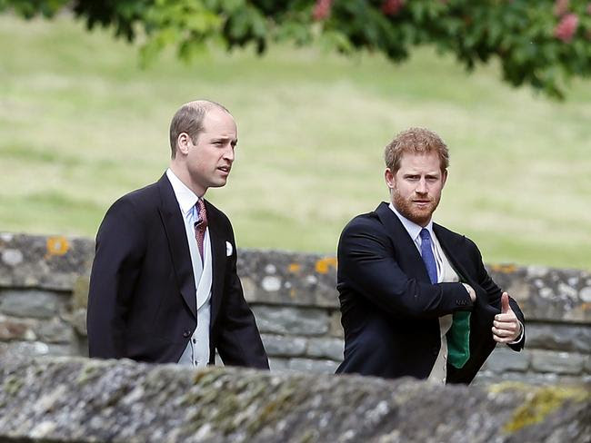 Britain's Prince William and Prince Harry arrive for the wedding of Pippa Middleton and James Matthews.