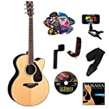 Yamaha FJX730SC Medium Jumbo Acoustic-Electric Guitar Bundle w/Legacy Kit (Tuner,DVD, and More)