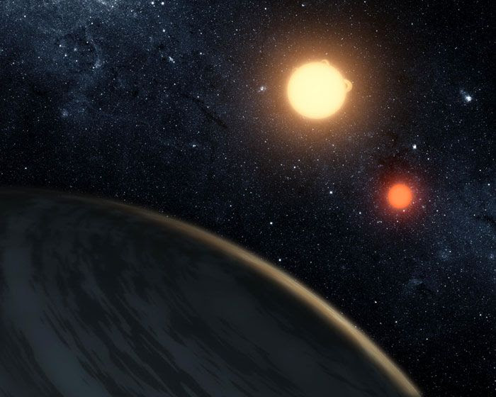 An artist's concept of Kepler-16b orbiting its two parent stars.