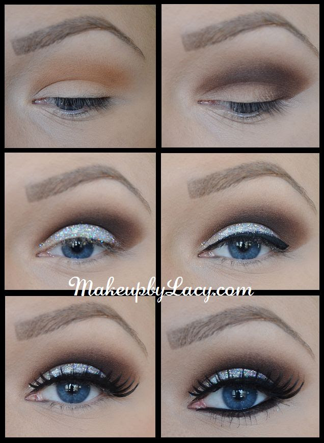 Glitter Eyeshadow Tutorial 1) Use NYC Bronzer in Sunny as an eyeshadow 2) Work Tigi Eye Shadow in Brown into crease and outer-v 3) Apply Wet N Wild Glitter to lid (comes out every Halloween!) 4) Line upper lid w/elf Liquid Eyeliner 5) Apply Rain Cosmetics Attention Whore Lashes w/duo glue 6) Line waterline w/L'Oreal Extra Intense Liquid Pencil & smudge the Tigi Brown eyeshadow under the waterline