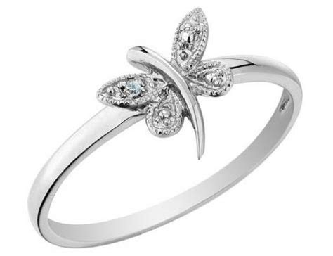 Dragonfly Ring with Diamond in Sterling Silver