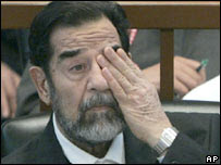 Saddam Hussein in court. File photo