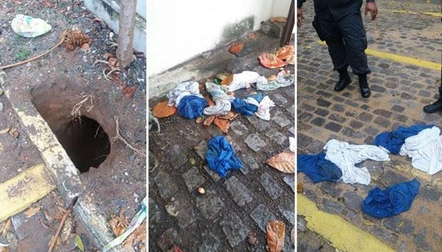 Túnel escavado para a fuga saiu dentro do terreno do Juizado Especial  (Foto: Divulgação/PM)