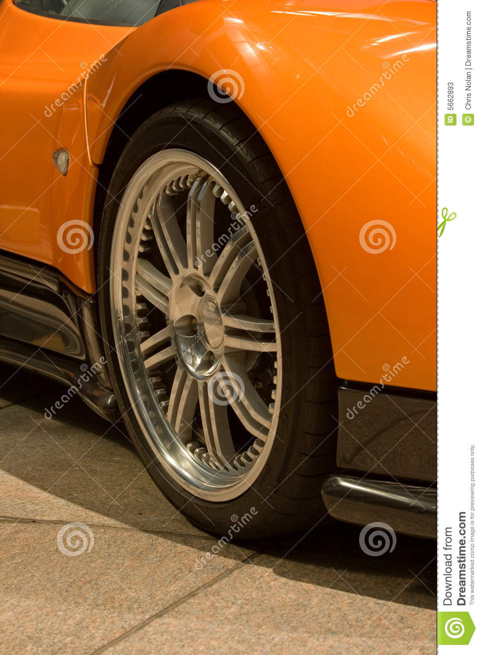 Expensive Orange Super Car Front Tire Stock Image Image