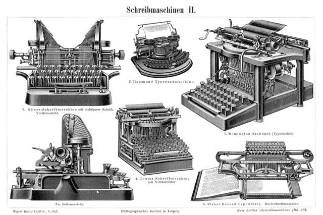 Schreibmaschine in Meyers 1900