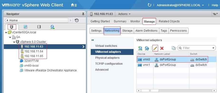 Figure 6 - VMkernel settings