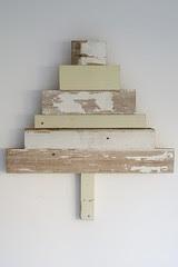 wood & wool white x-mas tree twelve