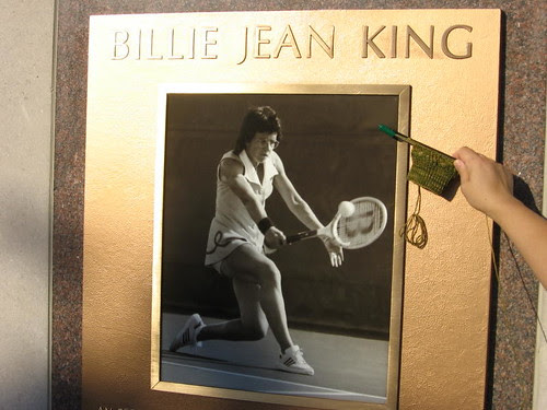 Billie Jean King plaque and sock