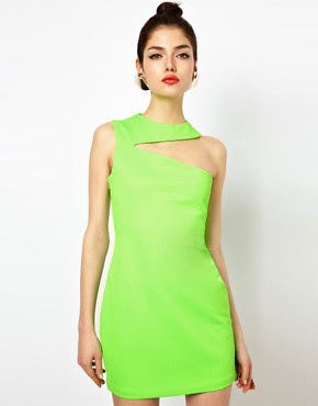 Image 1 of Aqua Gosling Mini Bodycon Dress with Slash Neck