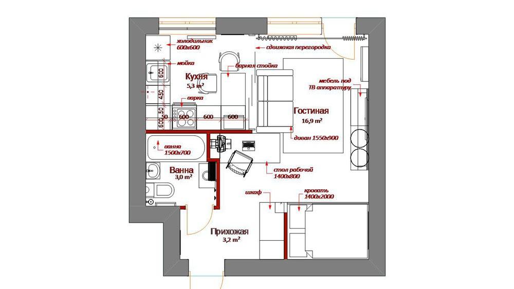 tiny apartment floor plan