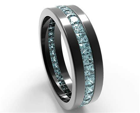Black Gold Princess Cut Aquamarine Wedding Band For Men