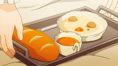 Valjean's get-well breakfast, Les Misérables: Shoujo Cosette, Episode 31.