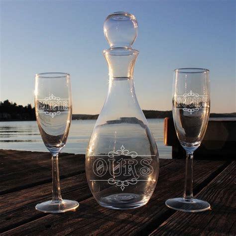 Yours Mine Ours Elegance Wine Decanter Flute Glasses Set