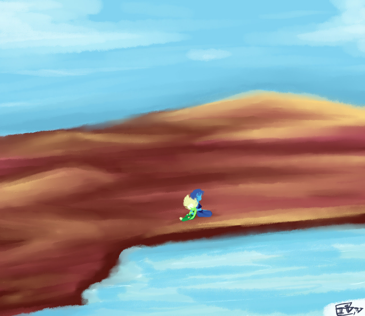 i was practicing australian landscapes and lakes, in like… the heidelberg school style? so i made it fun with some lapidot