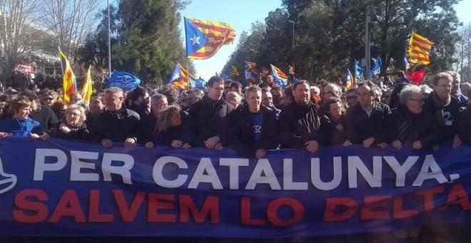 Imagen de la manifestación con Oriol Junqueras a la cabeza.- @ESQUERRA_ERC