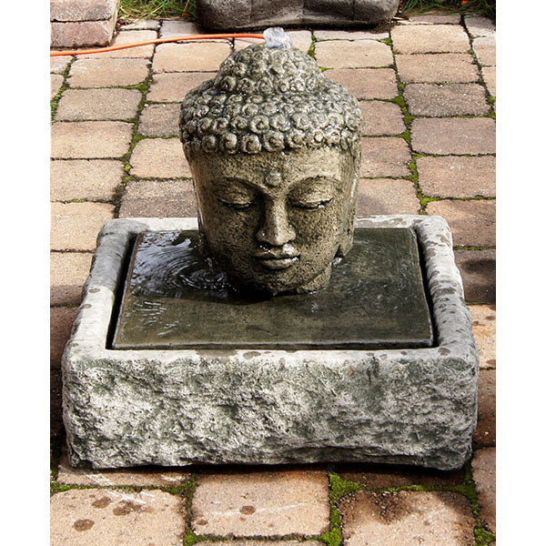 Water Fountains Buddha Head Concrete Indoor Outdoor Water Features Garden Statuary In Usa