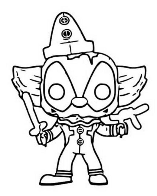Dibujo Para Colorear Funko Pop Marvel Deadpool Clown 11