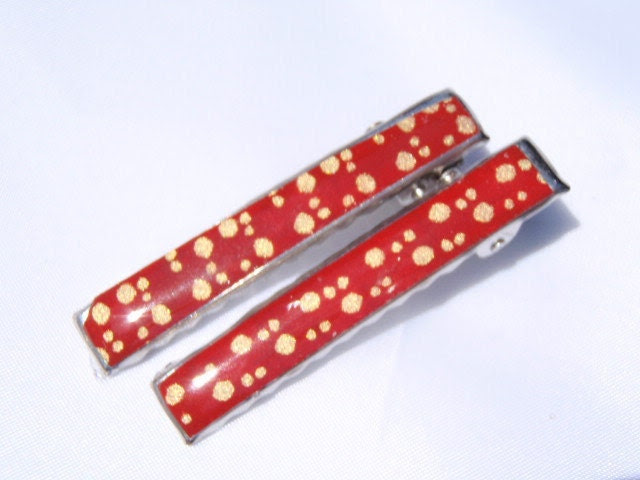 Gold PolkaDot on Rich Red Chiyogami  - Get a grip with these stylin clips - 2 inch small sturdy cute alligator clips - neverstopshoppin