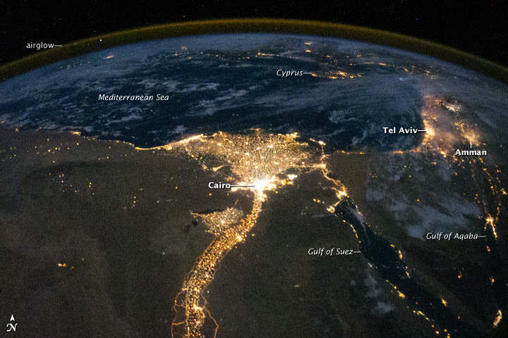 Nile River Delta at Night